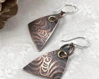 Mixed Metal Earrings Artisan Jewelry Handmade Rustic Earrings Wire Wrap Jewelry Tribal Jewelry Oxidized Copper Earrings Dangle Earrings