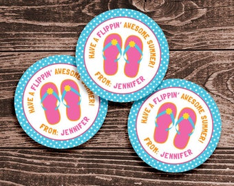 Personalized Last Day of School Tags or Stickers – 2, 2.5 or 3 Inch Circle – DIY Printable – Flip Flops (Digital File)