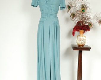 Vintage 1940s Dress - Elegant Turquoise Blue Rayon Crepe 40s Ruched Evening Gown with Rhinestone Studded Lucite Accents - Dusk Seas