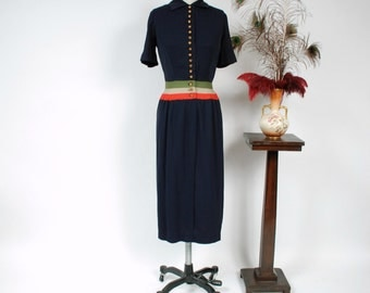 Vintage 1940s Dress - Sophisticated Rayon Gabardine Color Block 40s Day Dress in Navy Blue, Sage Green, Dove Grey and Rose Pink
