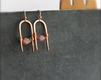 ON SALE Pink Spinel Gemstone Earrings - Forged Copper Arch, Peach Copper, Wire-Wrapped Dangle, Metalwork Jewellery