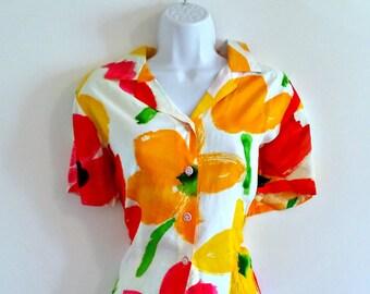 Vintage 80s Bright Watercolor Floral Blouse - Size M