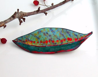 Big Leaf Brooch, Copper Enamel Teal Striped Art Pin, Ready to Mail, Artisan Jewelry in Vitreous Enamel,  Leaf Jewelry for Her, WillOaks