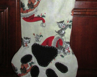 Pet Stocking - one remaining, vintage print fabric, dog/cat holiday stocking, CLEARANCE