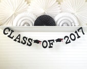 Class of 2017 Banner - 5 inch Letters with Graduation Caps - Graduation Banner Graduation Party Banner Grad Banner Graduation 2017 Banner