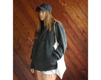 Grey Leather Patched Sweater Coat Jacket - Vintage 80s - M