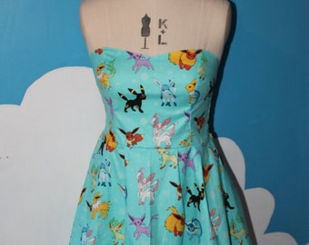 blue Eevee - pokemon sweet heart dress - all sizes