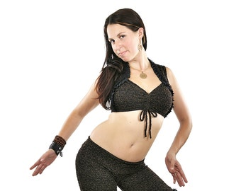 Carmen Top - Brown and Black Lace -  bellydance, tribal fusion belly dance