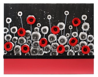 Art Canvas Painting of Poppy Flowers on Canvas - Red and Black Bedroom Decor - Small 20x16