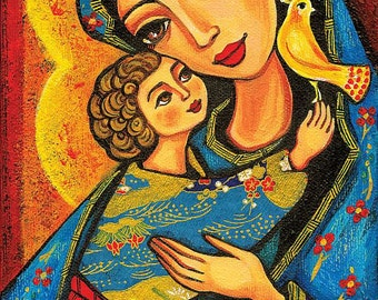 Madonna child, Virgin Mary Jesus painting, mother child, christian folk art, motherhood, beauty painting, feminine decor print 7x12+