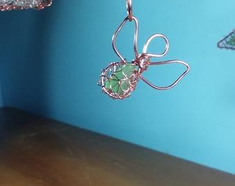 Guardian angel ornament - wire wrapped copper angel sea glass ornament - Lake Michigan beach glass sun catcher