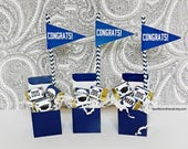 KIT Personalize Graduation Party Favor /Navy Blue / Hershey Nugget Wraps / Candy Wraps / Congratulations Graduate / Pennants