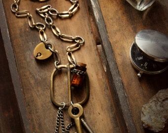 The Emissary. Rustic Bohemian Antique Buckle and Skeleton Key Custom Vintage Chain Necklace.