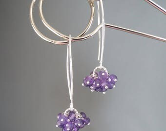 Faceted Genuine Amethyst Sterling Silver Earrings - Purple Cluster Dangle Drop Earrings - February Birthstone Jewelry - Gracie Jewellery