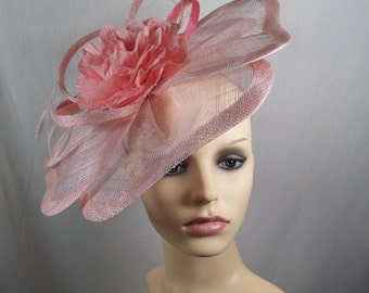 Peach and coral hatinator. Wedding hat-Races hat-Special occasion hat (SUMMER SALE)