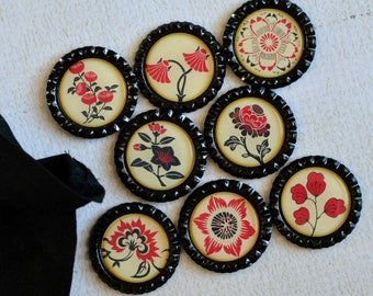 Asian Flower Magnets- Red, Black and Cream Floral Bottlecap Magnets- Asian Japanese Decor- Strong Fridge Magnets- Gift Under 10