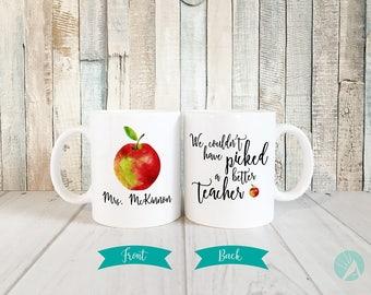 Teacher Appreciation Gift, Teacher Mug, Watercolor Mug, Watercolor Apple Mug, Teacher Apple Mug, Personalized Teacher Gift, Teacher Gifts