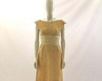 Vintage Dress 1960s Dress Cream Dress White Dress Yellow Dress Lace Dress Formal Dress Church Dress Wedding Dress Bridesmaids Dress