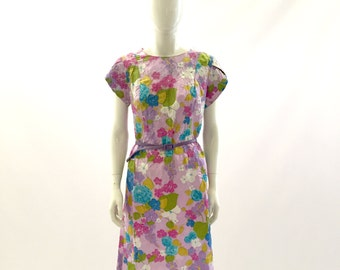 Vintage Dress Purple dress Floral Dress Silk Dress Day dress belted dress