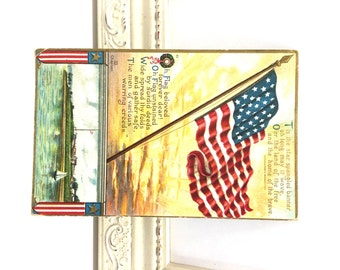 Vintage Postcard, Patriotic Postcard, Antique Postcard, Vintage American Flag, Old Glory, Red White and Blue, Fourth of July Postcard