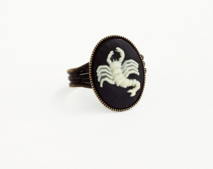 Scorpio Cameo Ring Victorian Zodiac Astrology Scorpion Ring Vintage Black Cameo Jewelry Adjustable Victorian Ring