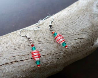 Red and Green Glass Lampwork Bead Earrings | Dangle