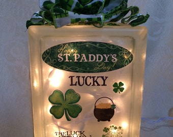 St. Patrick's Day Decorated Glass Block