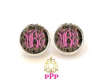 Camouflage Monogram Earrings Personalized Stud Monogram Earrings 400