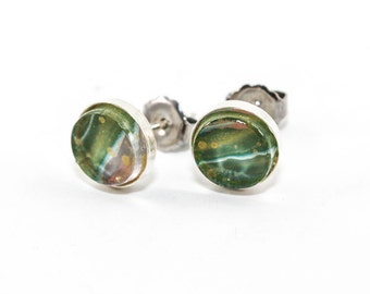 Abstract Art Drip Painting - Stud Earrings - Painted Acrylic in Round Sterling Silver Setting - Green, Blue, Gold, Gray
