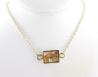 Abstract Art Pendant - Drip Painting on Acrylic in Brass Rectangle Necklace - Gold, Pink, Aqua, White (Original Painting)