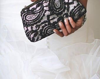 Black & Grey Alencon Paisley Lace Clutch | Bridal Clutch | Personalized Gift for Mom | Ready to ship