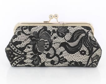 Black Rose Lace on champagne satin Clutch | Ready to Ship
