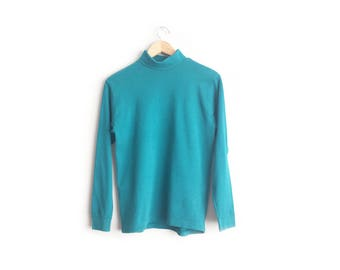 Size Women's M or Men's S // TEAL TURTLENECK TOP // Long Sleeve - Banded Cuffs - Cotton Pullover Shirt - Unisex - Preppy - Vintage '90s.