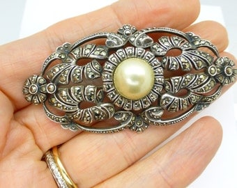 Large Antique Art Deco silver Marcasite Pearl brooch pin Unique Sterling 935 Gatsby vintage Wedding Bridal jewellery Birthday gift c1930's