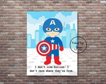 Captain America Art,Captain America Decor,Instant DOWNLOAD, YOU PRINT,Captain America Quote, Captain America Wall Art,Captain America Quotes