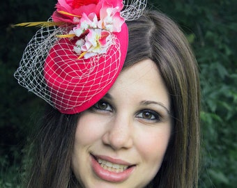 Mother's day gift Hot pink fascinator veil flower wedding hat LOVELY SARAH