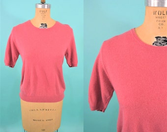 1980s sweater | 50 style rose cashmere top | vintage short sleeve sweater S