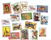 Vintage Illustrated Animals Postage Stamps, Lot of Mixed Stamps for Crafting or Collecting x 17