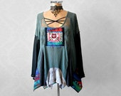 Bohemian Clothing Women's Teal Top Ethnic Tunic Boho Chic Shirt Artsy Plus Size Eco Conscious Peasant Top Festival Clothes XL 1X 'CHARLOTTE'