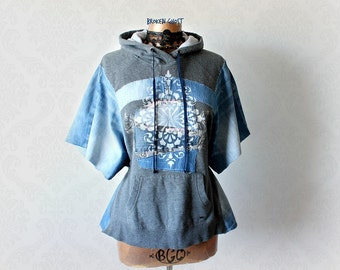 Denim Hooded Top Upcycled Clothing Pullover Hoodie Grey Painted Jacket Tattered Clothes Women's Funky Shirt Eco Friendly Hoodie S M 'TABITHA