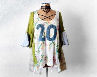 Floral Boho Clothing Number Shirt 20 Loose Flowing Eco Friendly Top Romantic Tunic Gypsy Bohemian Upcycled Clothes Country Top L XL 'AUBREY'