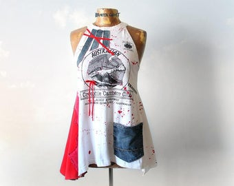 White High Neck Tank Unique Clothing Women's DIY T-Shirt Fit Flare Shirt Summer Boho Clothes Recycle Denim Red Crocodile Tee S M 'VANESSA'