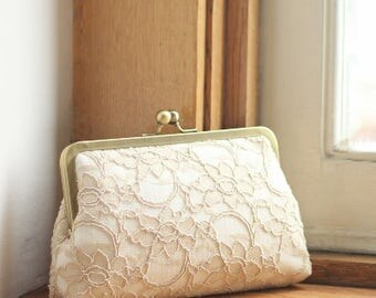 Bridal Clutch | Champagne Bridesmaid Clutch | Bridesmaid Gift  | Wedding Clutch [Antoinette Clutch: Champagne on Off-White]
