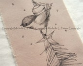 LARGE Original Pen Ink on Fabric Illustration Quilt Label by Michelle Palmer Winter Chickadee Christmas Tree Star Ornament Bird Tree Top