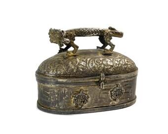Vintage Dragon Embossed Metal Box / Dragon Handle / Chinese Dragon / Keepsake Trinket Jewelry Box / Renaissance Box / Asian Home Decor