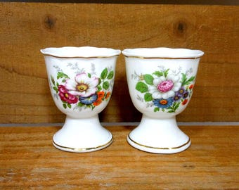 Pair Vintage Egg Cups / White Bone China Floral Egg Cups / Gold Leaf Trim / Breakfast Dishes / Dining Serving / Mid Century Kitchen