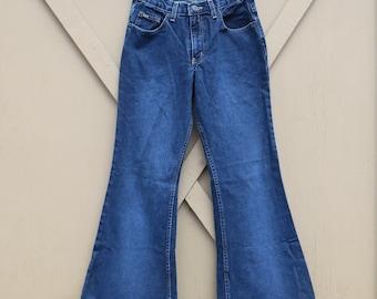 90s vintage L.E.I.  Dark Wash Denim Bellbottom Jeans / 90s Dark Wash Denim Flare Jeans