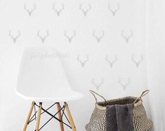 Deer wall decal, mini size decal, woodland nursery, vinyl wall decal, animal decal, deer head wall sticker, deer wall art, set of 24 deer