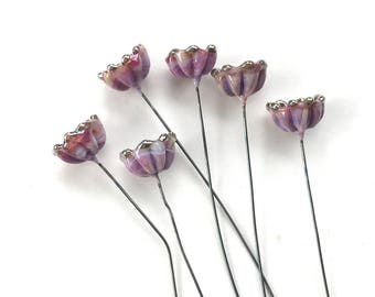 Bellflower Lampwork Headpins, Lampwork Flower Headpins, Flower Headpins, Set of 6 by Dry Gulch, Blossom Dandy #504