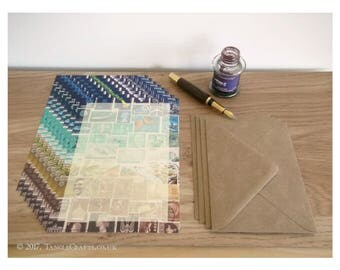 Beachy Writing Paper Set - A5 Notepaper, Postage Stamp Art Design